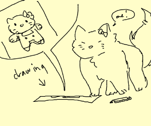 Cat with Drawing