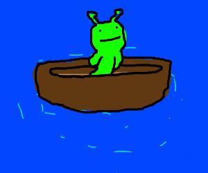 alien driving boat car
