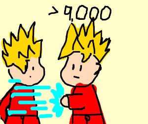 2 Gokus fighting each other while super saiyan
