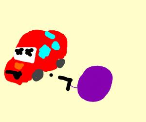 Purple ball kills Cars movie character