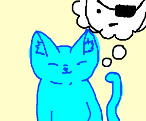 blue haired cat thinks about pirates