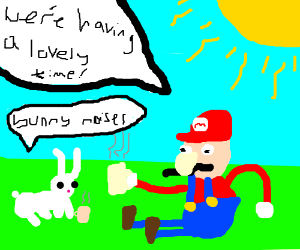 A bunny and Mario having a lovely time