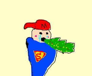 red-caped superhero crying and puking