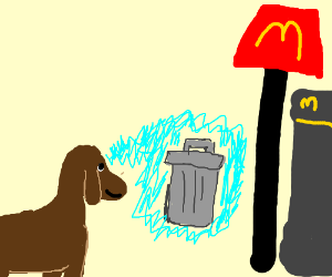 dog mind control a trash bin from mcdonalds drawing by cainah