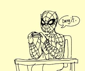 spider-man stuggles to eat sandwhich
