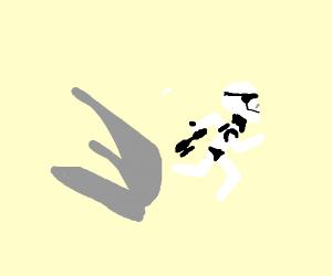 storm trooper runing away