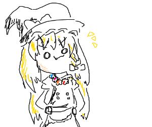Blonde twig lady wears a lei