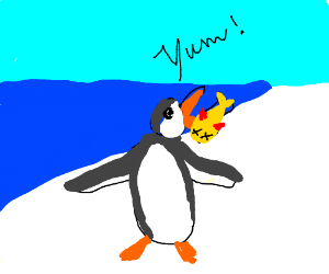 Penguin eating fish
