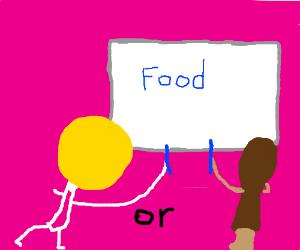 a lollipop or chicken thigh written food
