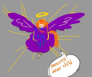 Purple angel leaving
