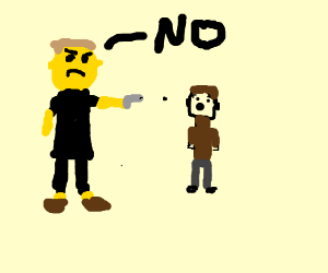 yellow skinned man shoots kid and says NO