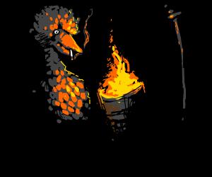 big bird smoking next to a flaming trash can