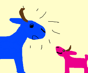 Blue goat surprised by smaller pink goat