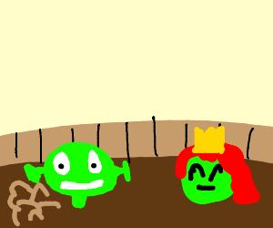 Shrek and Fiona farts in mud bath
