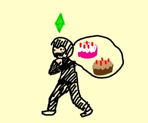 Sims burglar steals a birthday cake