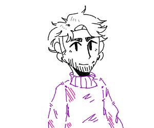 Monochrome Man in a Purple Sweater