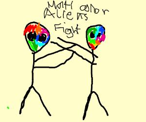 Multi color aliens fighting
