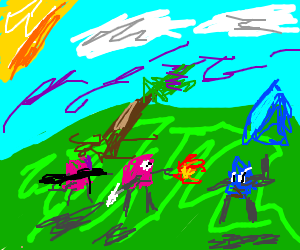 Pink jellybeans go to WAR in a nice sunnyField