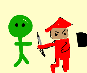 Green man and samurai