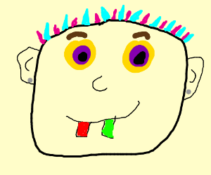 Guy with colorful eyes hair and teeth