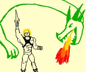 He-Man fighting a dragon