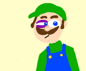 Luigi with bruises and a blue eye
