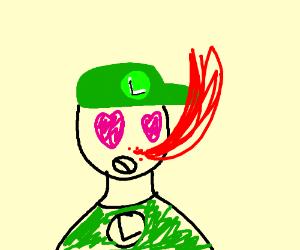 Luigi's gravity-defying anime nosebleed