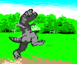 Happy little dino frolics through the grass
