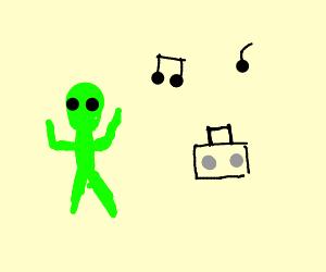 Alien dances to music