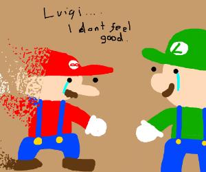 Mario fading away in front of Luigi (Sad) :(