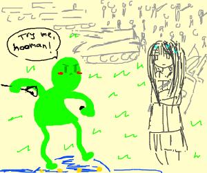 "thretening alien says ""try me human"""