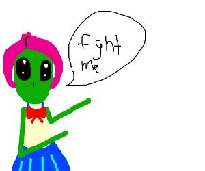 Alien schoolgirl wants to FIGHT