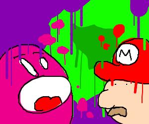 Kirby eats Mario
