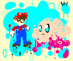 Mario and Kirby meet, everything is melting
