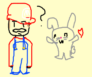 Rabbit wants to hug Mario