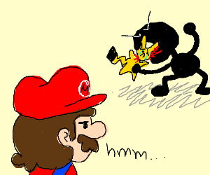 Mario cant guess who bites pikatchus head off