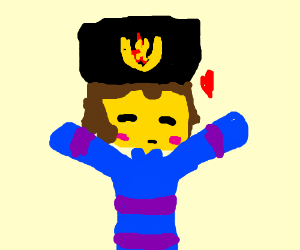 frisk from undertale with a communist ushanka