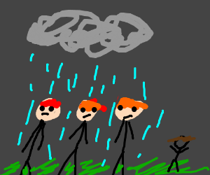 3 redheads get rained upon