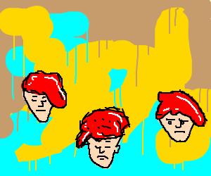 three sad men with bright red hair