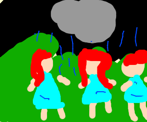 three redheads being rained on