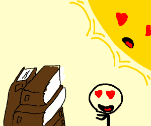 man and sun have heart eyes for stack of books