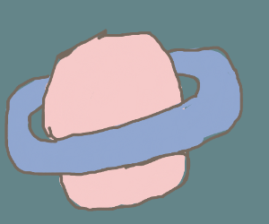 pastel pink Saturn with blue rings