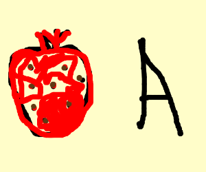 a big strawberry next to the letter A