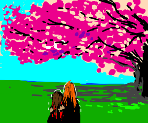 two people watching a Blossom tree
