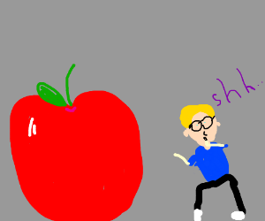 Young boy with glasses stalks an apple.