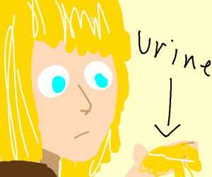 Adult Armin from AOT holds piss on his hands
