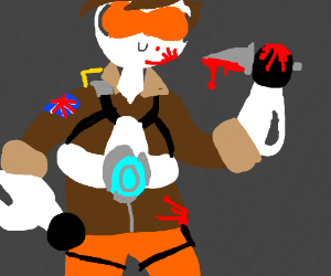 Tracer (OW) stabbing a random person