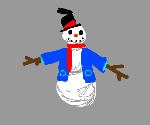 happy snowman wears a blue jacket