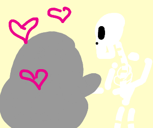 grey blob loves the skeleton