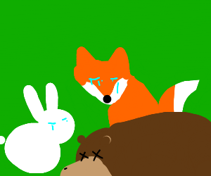 A rabbit and fox mourn the death of a bear